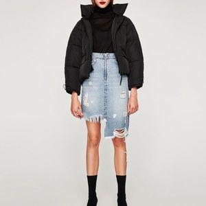 NWT Zara Distressed Asymmetrical Denim Skirt Sz S